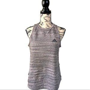 Adidas grey/ white striped sleeveless tank active